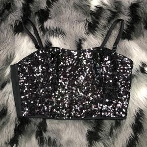 PINK Rave Festival Sequin Ribbed black strappy